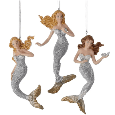 Christmas Silver And Gold Sea Mermaid Ornaments Rosy Brown