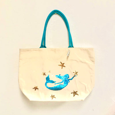 Totes and Bags Blue Glitter Mermaid Beach Bag Bisque