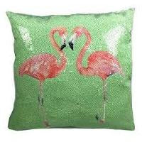 Pillows Flamingo Sequin Pillow Dark Sea Green