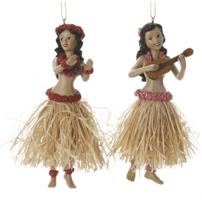 Christmas Resin Hula Dancer Ornament Snow