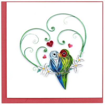 Valentine's Day Love Birds Quilling Card White Smoke