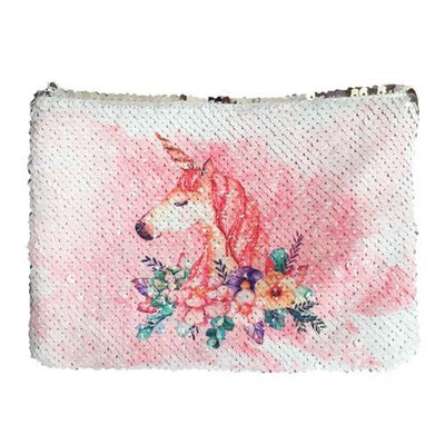 Totes and Bags Unicorn Magic Sequin Cosmetic Bag Light Pink