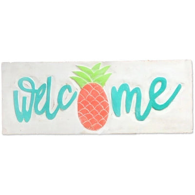 Beach Signs Pineapple Welcome Sign Aqua Salmon