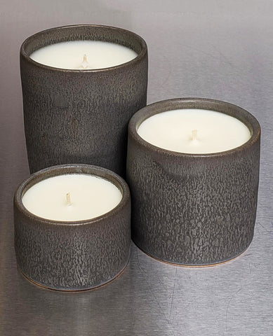 Set of Three  Sheldon Ceramic Candle Charcoal