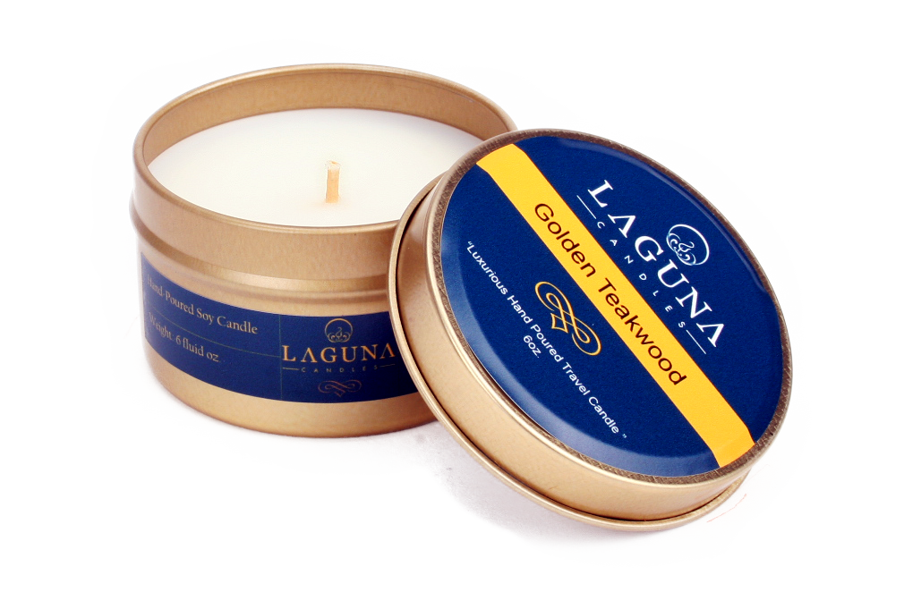 Coconut Wax Travel Candle Golden Teawood