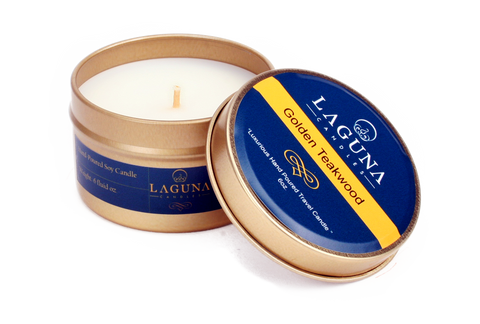 Golden Teawood Soy Travel Candle