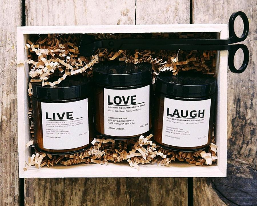 Live Love Laugh Candle Gift Set