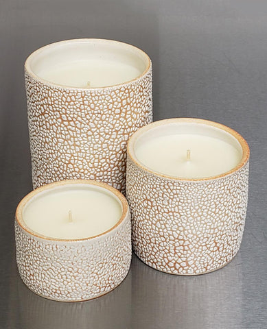 Set of Three Sheldon Ceramic Candle White Chroc