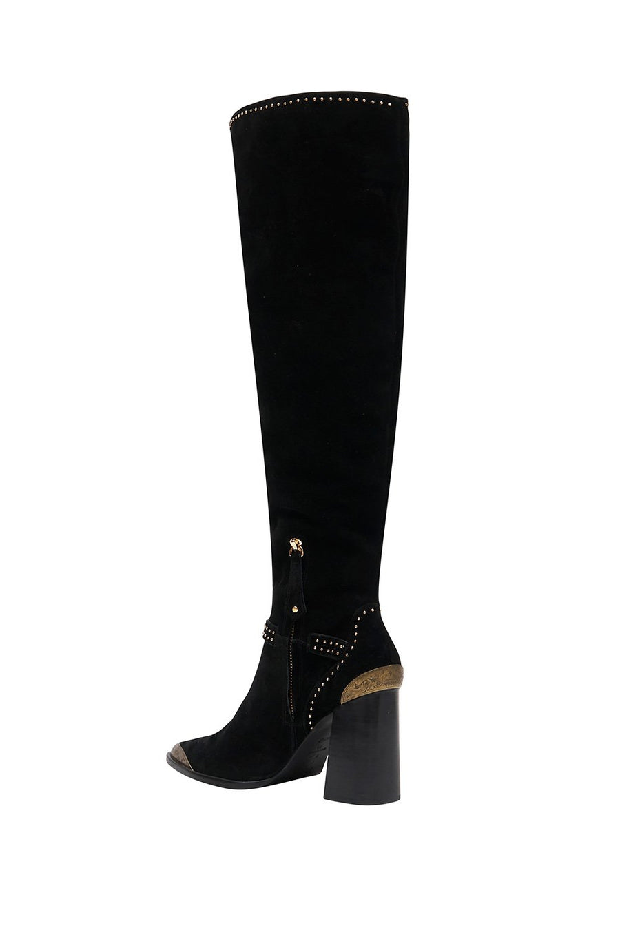 KNEE HIGH HEEL BUCKLE BOOT FLIGHT OF AMUN-RA