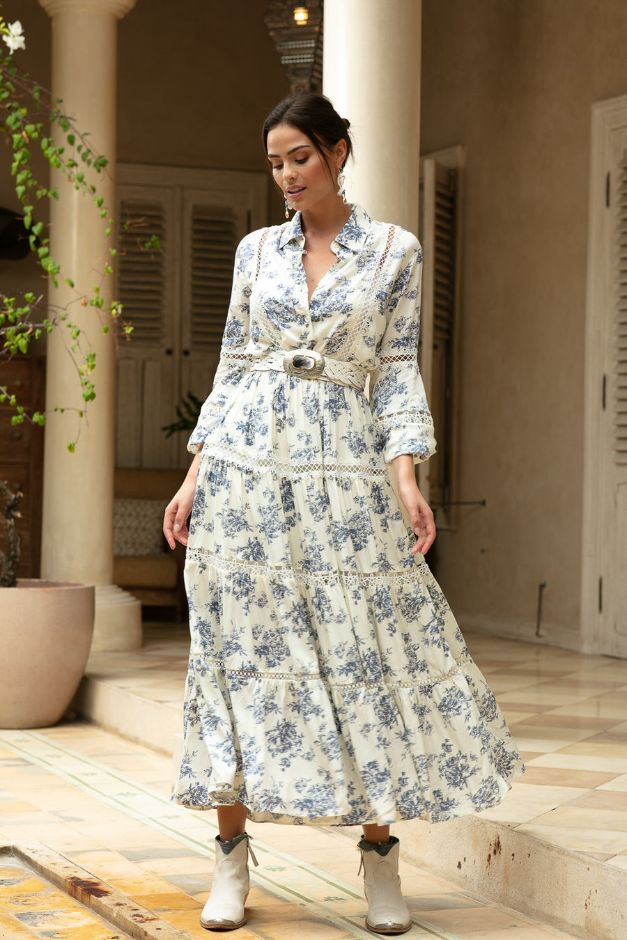 Miss June Blue Floral Maxi