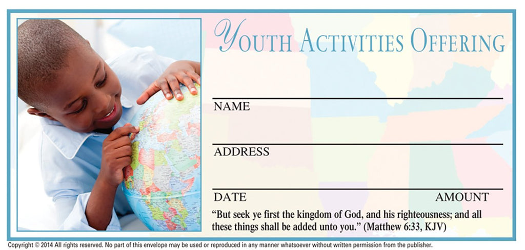 Youth Activities Offering Envelope: 4 color