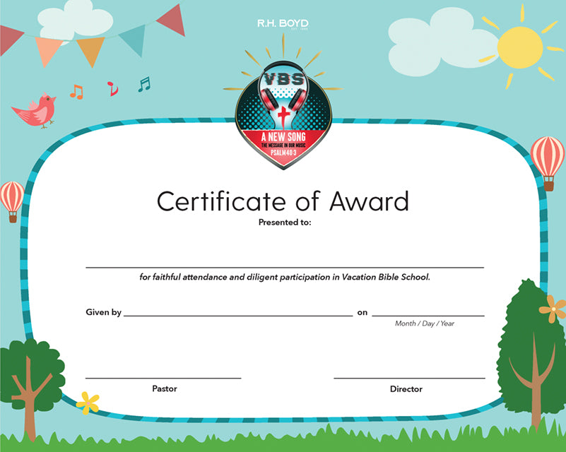 2021 VBS Certificate of Award, Pack of 6