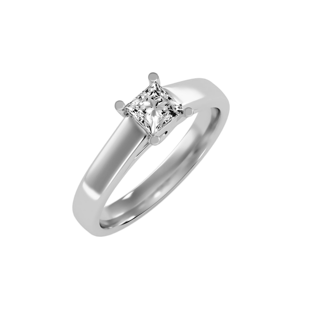 EcoMoissanite 0.57CTW Princess Colorless Moissanite Four Prong Basket Cathedral Solitaire Engagement Ring