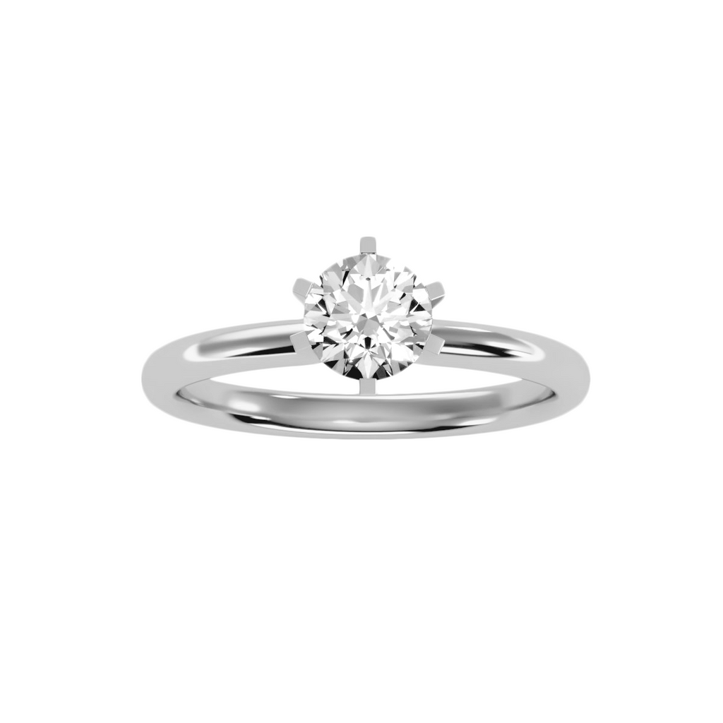 EcoMoissanite 1.18CTW Round Colorless Moissanite Six Prong Classic Solitaire Engagement Ring