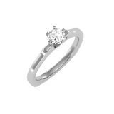 EcoMoissanite 0.47CTW Round Colorless Moissanite Six Prong Euro Shank Solitaire Engagement Ring