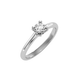 EcoMoissanite 0.53CTW Round Colorless Moissanite Split Prong Basket Solitaire Engagement Ring