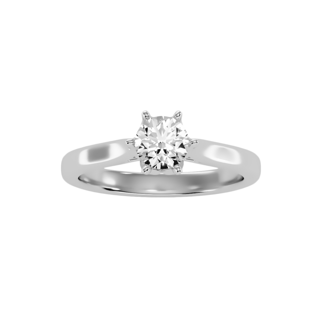 EcoMoissanite 0.7CTW Round Colorless Moissanite Six Prong Tulip Cathedral Solitaire Engagement Ring