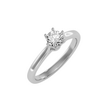 EcoMoissanite 0.53CTW Round Colorless Moissanite Six Prong Crown Cathedral Solitaire Engagement Ring