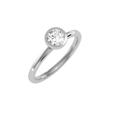 EcoMoissanite 0.59CTW Round Colorless Moissanite Bazel Setting Modern Solitaire Engagement Ring