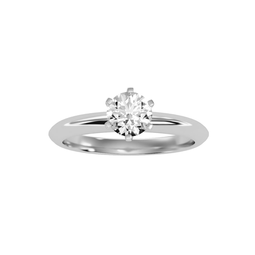 EcoMoissanite 0.81CTW Round Colorless Moissanite Six Prong Contemporary Solitaire Engagement Ring