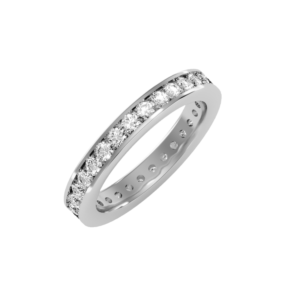 EcoMoissanite 1.20CTW Round Colorless Moissanite Channel Set Eternity Ring