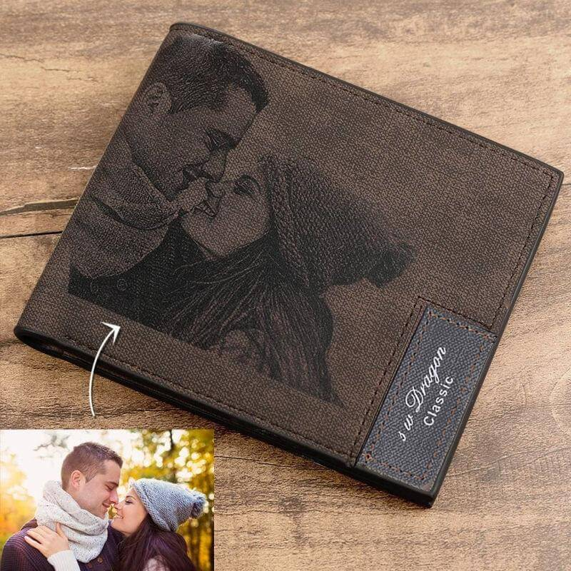 Engraved Wallet w/ Custom Engraved Picture & Inscription, PU Leather Wallet FREE 4-8DAYS DELIVERY IN THE US