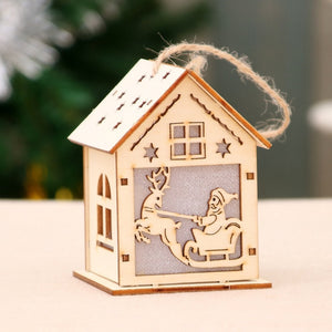 Festive LED Wood House for Christmas Decorations