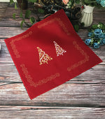 Bright Red Embroidery Christmas Trees Placemat