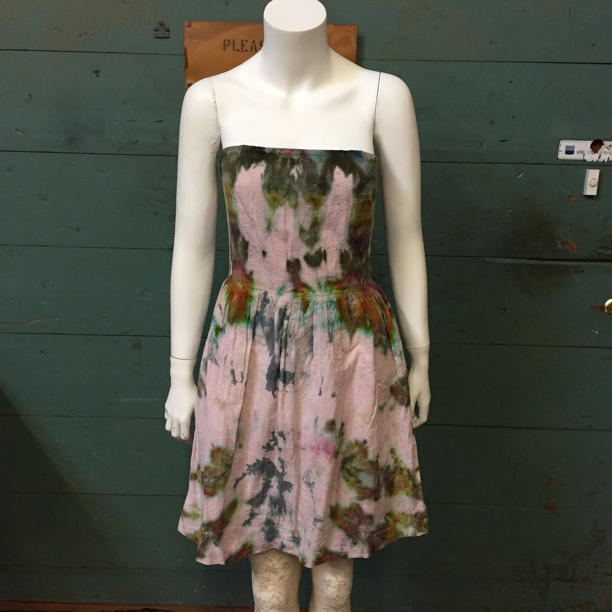 57ab9b33f55902 Sage Luxury Shibori Tie Dye UpCycled Cotton Strapless Dress Made in USA ...