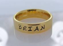 Load image into Gallery viewer, Gold Band Comfort fit Unisex 6mm Stainless Steel Name Ring