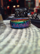 Load image into Gallery viewer, Rainbow 6mm Stainless Steel Unisex Name Ring