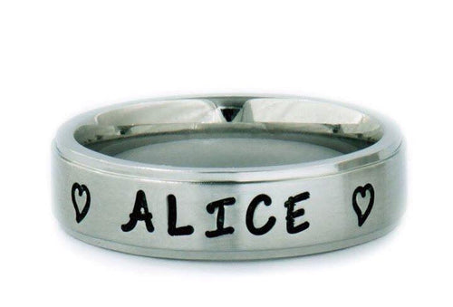 Brushed Silver Comfort Fit 6mm Personalized Name Ring