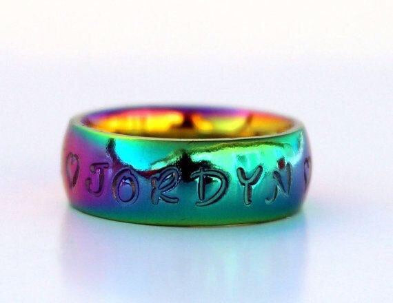 Rainbow 6mm Stainless Steel Unisex Name Ring
