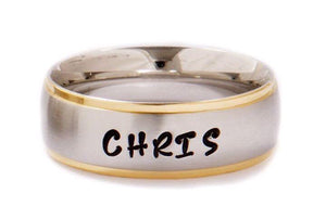 Comfort Fit Silver With Gold Edge 6mm Personalized Name Ring