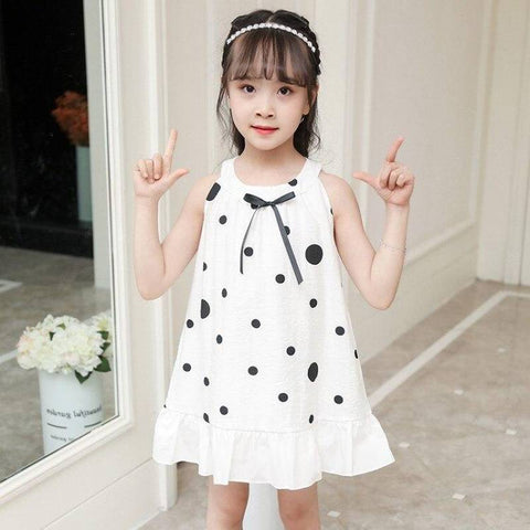Robe d ete a pois <br>blanche