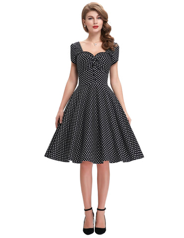 robe pin up noir a pois blanc