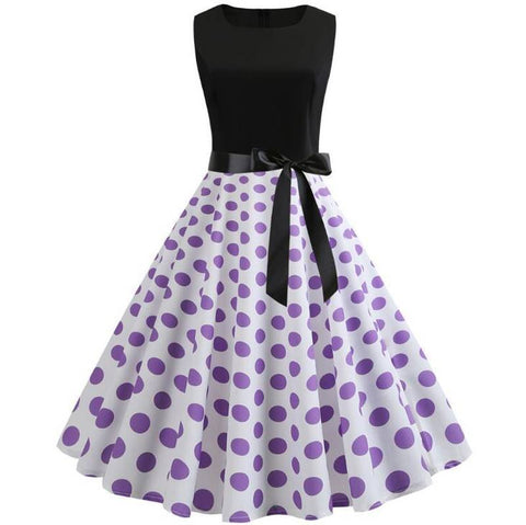 Robe a pois grande taille <br>de cocktail