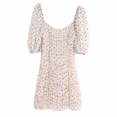 Robe manche longue a pois <br>vintage evasee