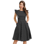 robe jersey noire a pois manches courtes