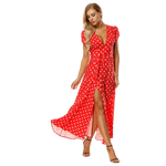 robe soiree a pois blanc longue rouge femme