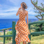 Robe longue a pois <br>plage