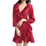 robe a pois courte volants franges