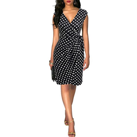 robe a pois annees 50 sexy noire