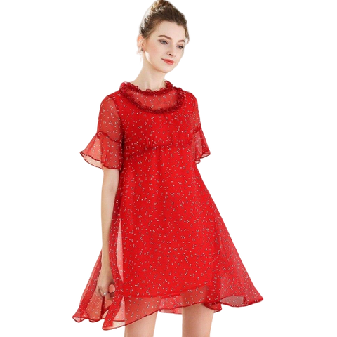 robe courte rouge moulante a pois