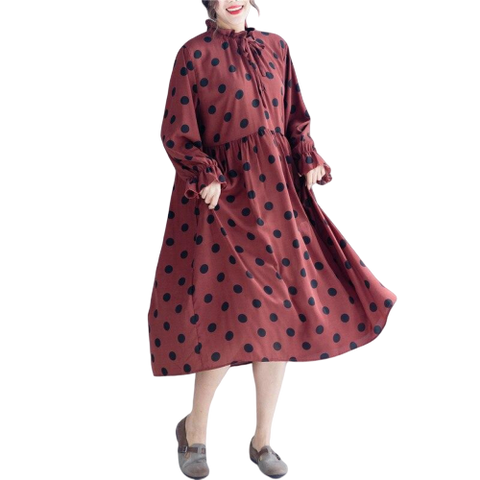 robe cocktail couleur prune a pois annee 50