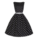 robe a pois annee 50 femmes taille party noire