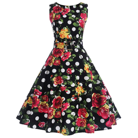robe annees 50 a pois bustier