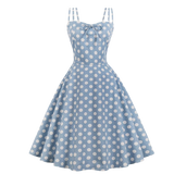 robe cocktail turquoise a pois annee 50