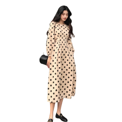 robe longue a pois haut femme col rond chic