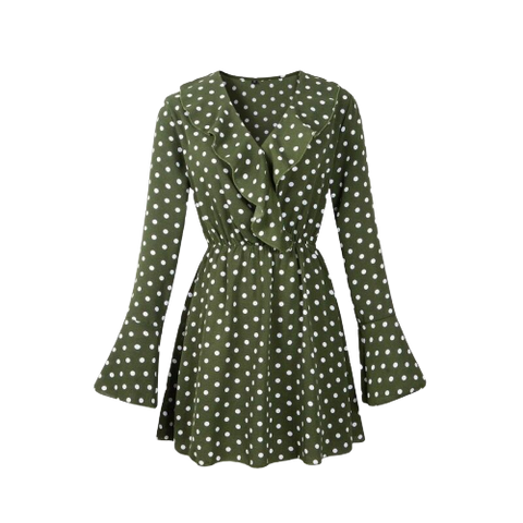 robe patineuse manches longues a pois courte